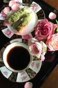 蒔絵のような漆黒ボーダーとイングリッシュローズ オトナかわいい tea for two set