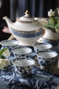 藍色お花の抽象画 伊万里 向付 5客セット