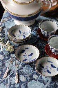 古伊万里  ロマンチックな草花紋  楚々とした豆皿  5枚セット