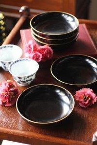 漆黒の艶 シンプルな漆の五寸皿 5枚セット