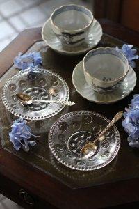 明治 水玉みたいな巴紋 プレスガラス 小皿 6枚セット