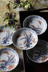 折り紙の蝶々と春蘭、舞扇のおめでたいナッツプレート 5枚セット