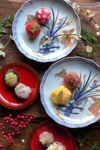 折り紙の蝶々と春蘭、舞扇のおめでたいディナープレート 5枚セット