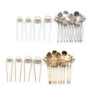 combi plated flower ヘアコーム・Uピンセット:zoule(ゾーラ)