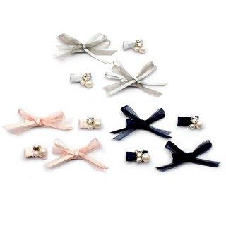 double ribbon ミニへアクリップセット:zoule(ゾーラ)