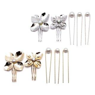 metaly flower set ミニへアコーム・Uピンセット:zoule(ゾーラ)