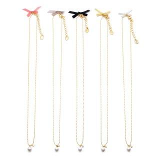 ribbon&shell pearl ネックレス:zoule(ゾーラ)