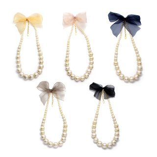 cotton pearl ribbon ネックレス:zoule(ゾーラ)