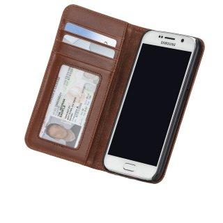 【カードや紙幣が収納できるレザーケース】 GALAXY S6 SC-05G Wallet Folio Case Brown ウォレット フォリオ ケース ブラウン