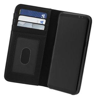 【Galaxy S8+ ケース ハンドメイド 本革レザー】Galaxy S8+ SC-03J/SCV35 WALLET FOLIO Black 【カードや紙幣が収納できる】 手帳型 ケース