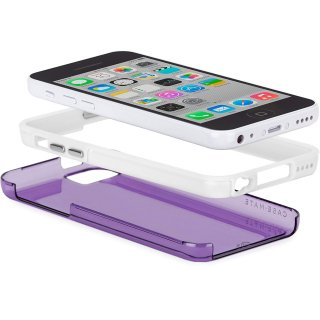 【衝撃に強いタフなケース】 iPhone 5c Hybrid Tough Naked Case Clear Purple / White