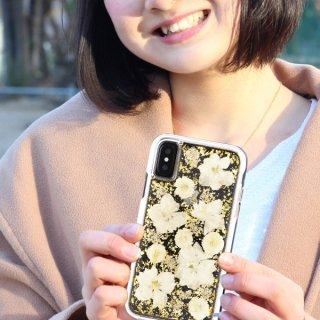 【ドライフラワーを使用!ハッピーでかわいいケース】iPhoneXS/X Karat Petals - White
