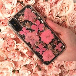 【ドライフラワーを使用!ハッピーでかわいいケース】iPhoneXS/X Karat Petals - Pink