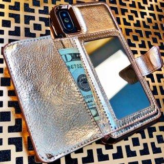【コンパクトミラー付き 手鏡いらずのiPhoneケース】iPhoneXS/X Compact Mirror Case−Rose Gold