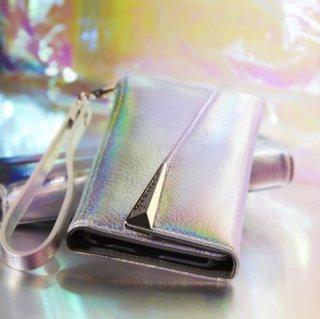 【iPhoneXS/X用 本革仕様 ハンドバックのような使いやすさ】iPhoneXS/X Wristlets Folio−Iridescent