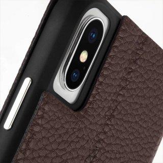 【エンボスレザー調のシンプルな手帳型ケース】iPhoneXS/X Barely There Folio-Brown