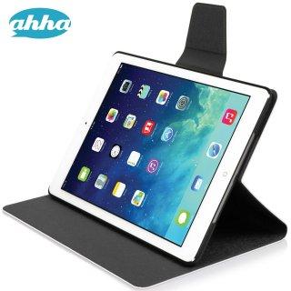 【スタンド機能付きケース】 ahha iPad Air 用 横開き型スリムタイプケース ザキ  ホワイト/グレー