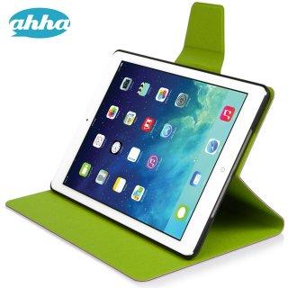【スタンド機能付きケース】 ahha iPad Air 用 横開き型スリムタイプケース ザキ  パープル/グリーン