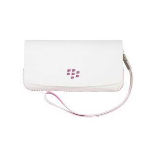 【RIM純正のポーチタイプケース】 BlackBerry Pearl 3G 9100/9105 Leather Folio Pouch with Strap  White