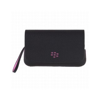 【RIM純正ポーチタイプケース】 BlackBerry Torch 9800/9810 Leather Folio Pouch with Strap  Black/Pink