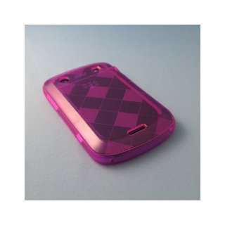 【ソフトケース】 GauGau BlackBerry Bold 9900/9930 Check Design TPU Case Type2  Clear Hot Pink