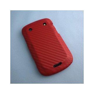 【カーボン調ハードケース】 GauGau docomo BlackBerry Bold 9900/9930 Hard Rear Cover  Red