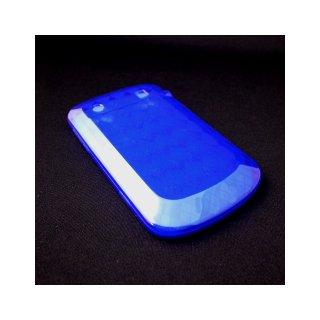 【チェック柄のTPU製ソフトケース】 GauGau BlackBerry Bold 9900/9930 Check Design TPU Case  Clear Blue