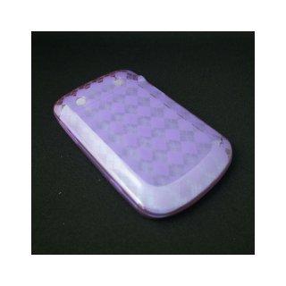 【チェック柄のTPU製ソフトケース】 GauGau BlackBerry Bold 9900/9930 Check Design TPU Case  Clear Purple