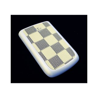 BlackBerry Bold 9780/9700 Battery Door  Checker Flag Motif Cream Yellow  Gloss Pearl White