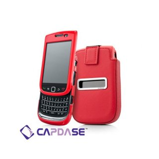 【ソフト&ポケットケースのセット】 CAPDASE BlackBerry Torch 9800/9810 Smart Pocket Value Set  Red/Red