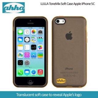 【2種の素材を使用】 ahha iPhone 5c 用 ソフトケース&ハードフレーム ルラ  クリアーブラック/イエロー