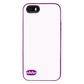 【2種の素材を使用】 ahha iPhone 5c 用 ソフトケース&ハードフレーム ルラ  クリアーホワイト/パープル