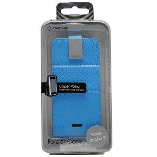 【縦開き型スタンド機能付きケース】 CAPDASE iPhone SE/5s/5 用 Folder Case Upper Polka ブルー/グレー