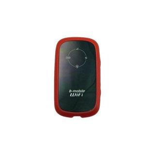 GauGau 日本通信 b-mobile WiFi BM-MF30 用 TPU バンパーフレームタイプケース クリアーレッド