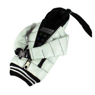 【5インチまで対応 汎用 スマートフォン ポーチ】 GauGau  Down Jacket Sytle Case White (ネックストラップ つき)