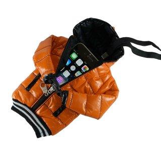 【5インチまで対応 汎用 スマートフォン ポーチ】 GauGau  Down Jacket Sytle Case Orange  (ネックストラップ つき)