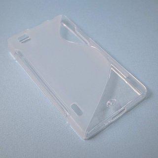 【シンプルなソフトケース】 GauGau au IS11LG / LG Optimus X Wave Soft Case  Clear White