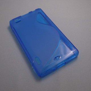 【シンプルなソフトケース】 GauGau au IS11LG / LG Optimus X Wave Soft Case  Clear Blue