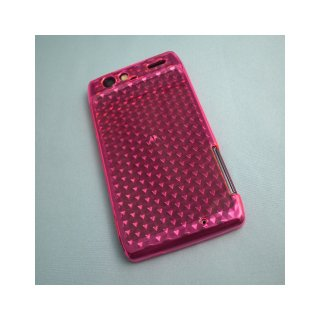【シンプルなソフトケース】 GauGau au MOTOROLA RAZR IS12M Soft Case Hexagonal Pattern  Clear Pink