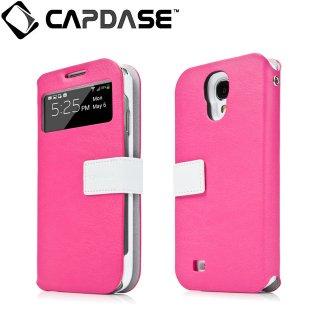 【磁力で合体するケース】 CAPDASE docomo GALAXY S4 SC-04E Smart Folder Case Sider ID Belt: Pink/White