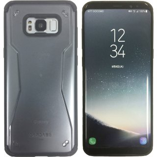 【フィンガー ホールド リング付属】CAPDASE Galaxy S8+ SC-03J/SCV35 Soft Jacket Fuze II CLEAR Black/Black