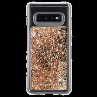 Galaxy S10 ハード スマホケース カバー [耐衝撃・ワイヤレス充電対応・ハイブリッド・スリム構造] 流れる キラキラ ウォーターフォール ゴールド