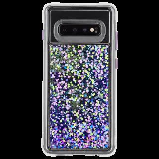 Galaxy S10+ ハード スマホケース カバー [耐衝撃・ワイヤレス充電対応・ハイブリッド・スリム構造] 流れる キラキラ ウォーターフォール パープルグロウ