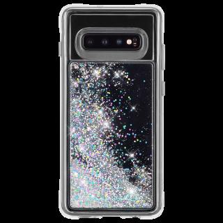 Galaxy S10+ ハード スマホケース カバー [耐衝撃・ワイヤレス充電対応・ハイブリッド・スリム構造] 流れる キラキラ ウォーターフォール イリデセント