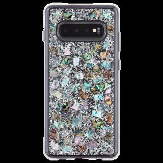 Galaxy S10+ ハード ケース カバー [耐衝撃・ワイヤレス充電対応・ハイブリッド・スリム構造]透明 キラキラ シェル風 純銀箔 カラット マザーオブパール
