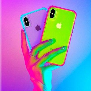 【大胆なネオンカラーがインパクト大!】iPhone iPhoneXS Max  Tough Clear - Neon Green/Pink Neon