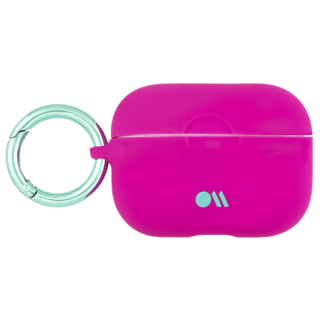 【AirPods Pro ケース・ワイヤレス充電OK】 AirPods Pro Case Fuschia w/Mint Green Circular Ring