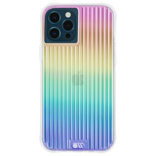【虹色に輝くデザイン】抗菌ケース iPhone 12 Pro Max Tough Groove Iridescent w/ Micropel