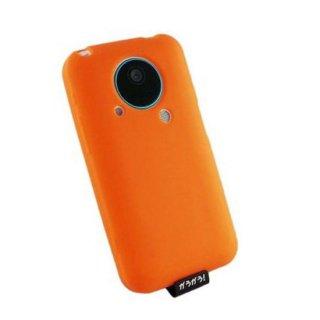 【シリコンゴム製のソフトケース】GauGau AU IS03 用ソフトケース (液晶、レンズ保護シート 付き) オレンジ