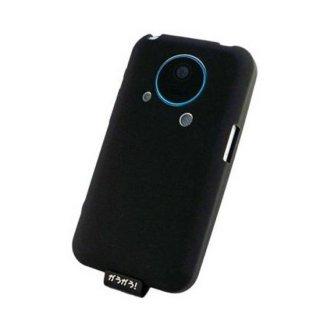 【シリコンゴム製のソフトケース】GauGau AU IS03 用ソフトケース (液晶、レンズ保護シート 付き) ブラック